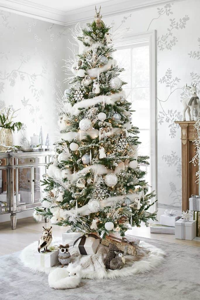 White silver gold Christmas tree