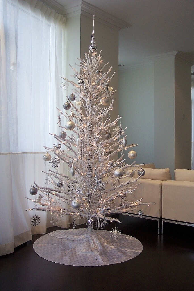 Creative silver white Christmas tree