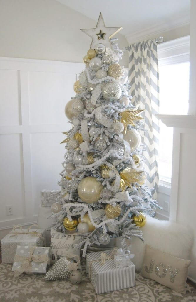Fancy golden white silver tree decor