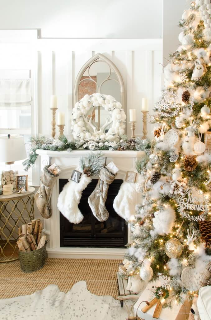 Rustic white silver Christmas decoration