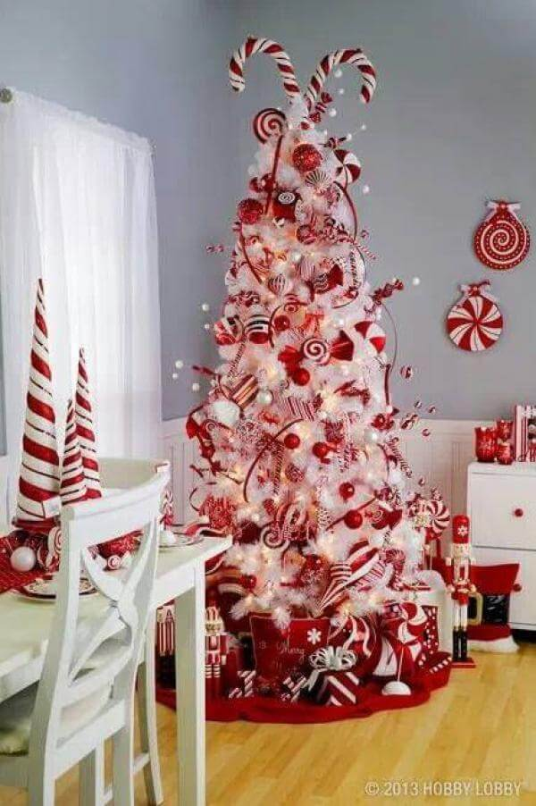 Candy Cane Red White Christmas Tree