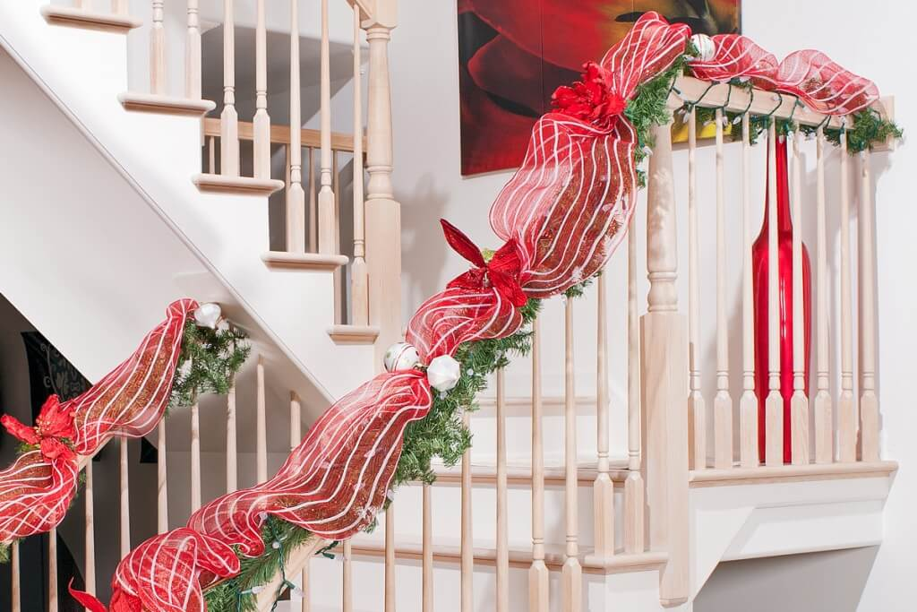 Candy colored staircase Christmas decorations
