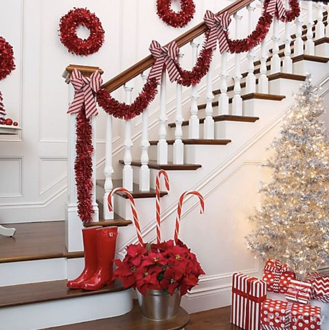 Staircase Red White Christmas Decoration