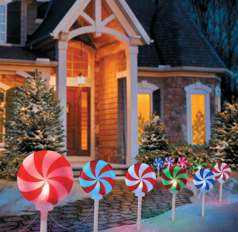 Christmas Peppermint Candy Pathway Markers