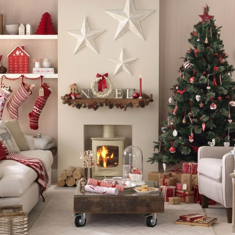 Living room candy cane decoration