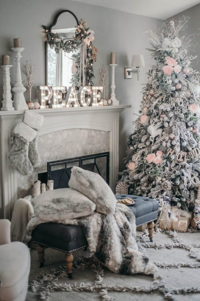 Gray living room Christmas tree