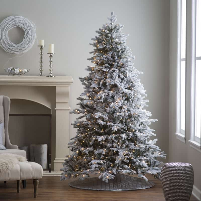 Flocked living room Christmas tree decor