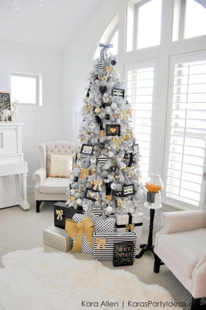 Black and white living room tree