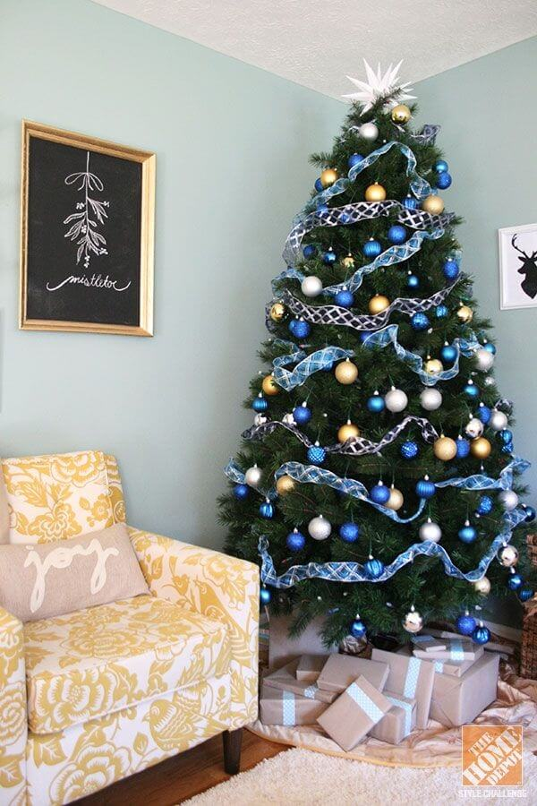 Blue Living Room Christmas Tree
