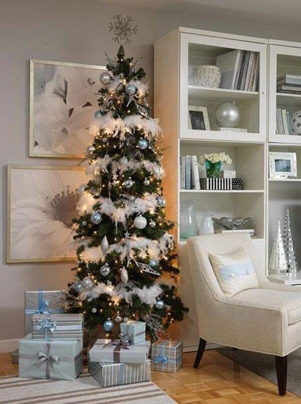 Narrow living room Christmas tree