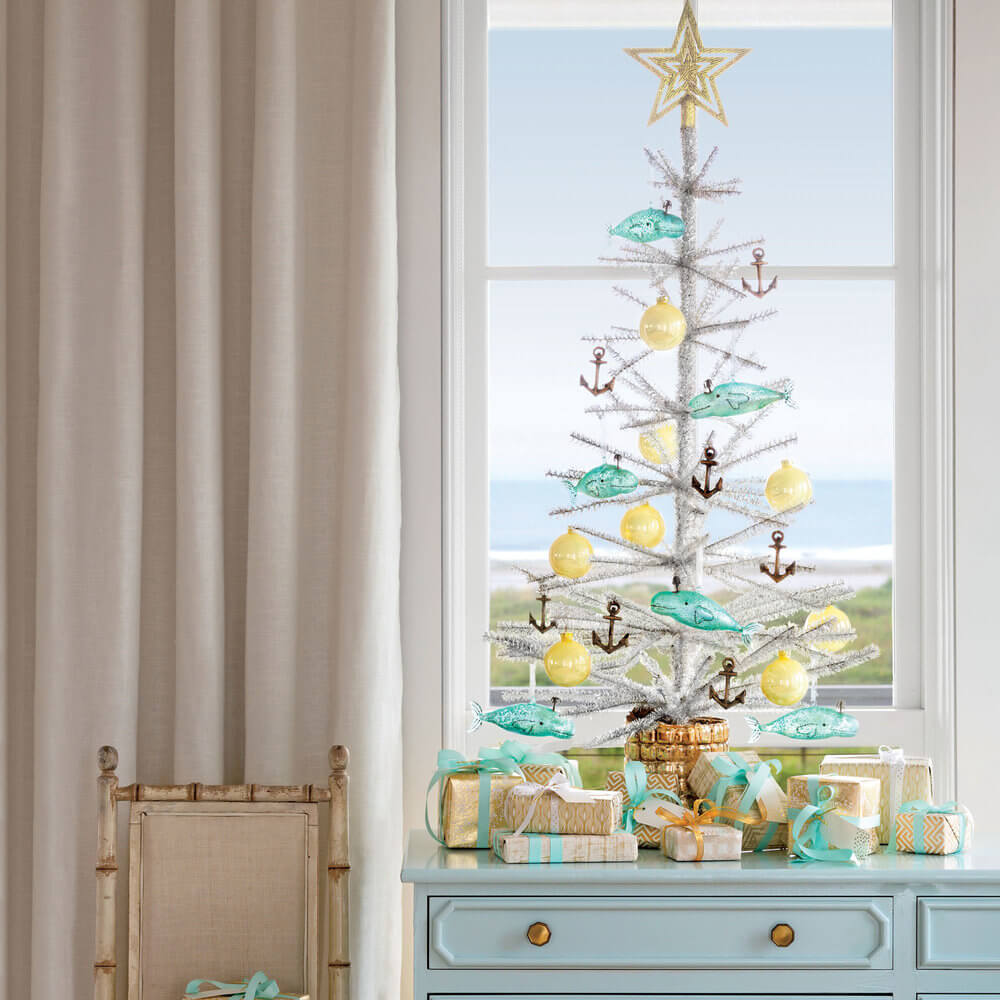 Coastal living room Christmas tree