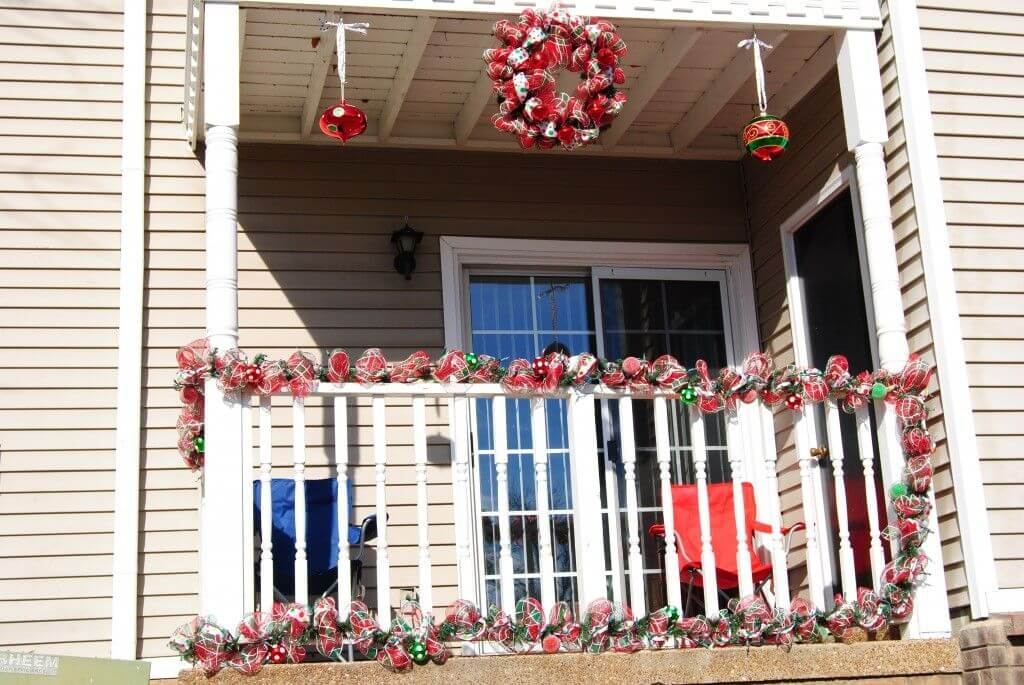Red and white balcony Christmas