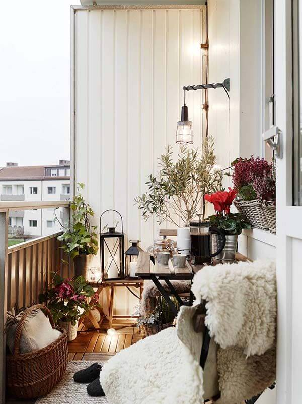 Cute winter balcony Christmas