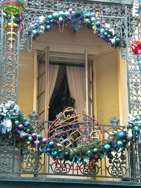 Colorful balcony decor for Christmas ornaments