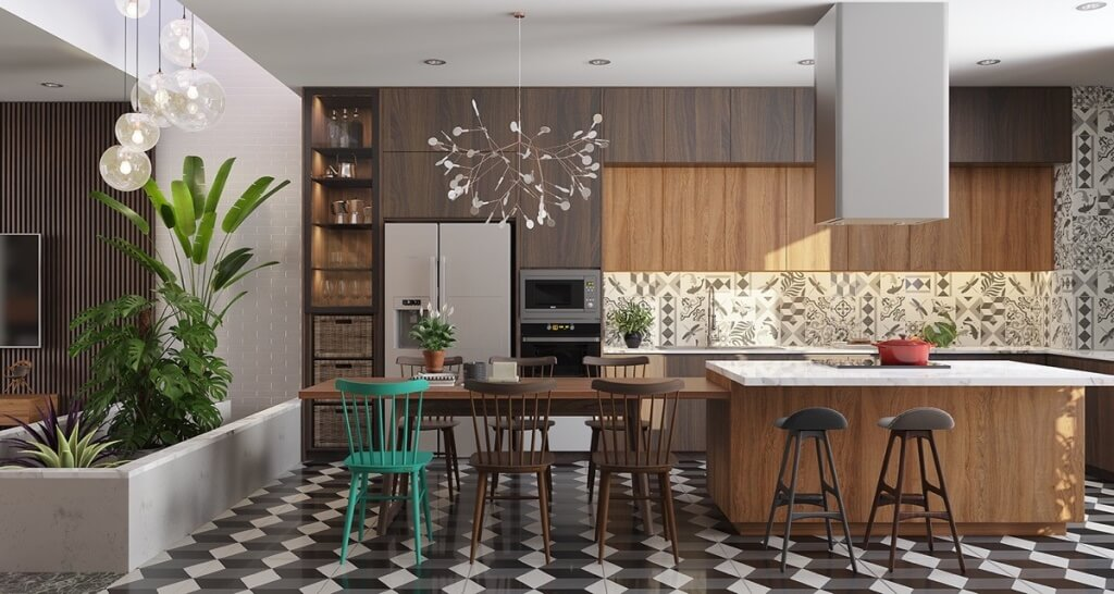 Mix and match the chair's geometric floor tiles in the kitchen