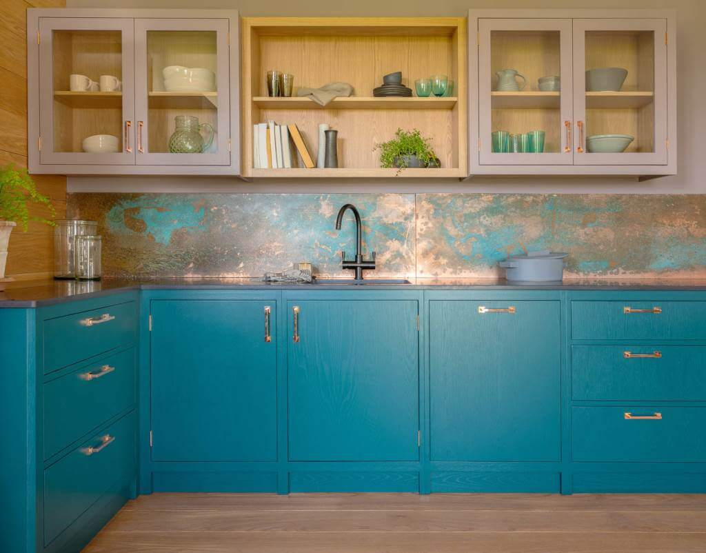 Small trendy L-shaped blue cabinet ideas