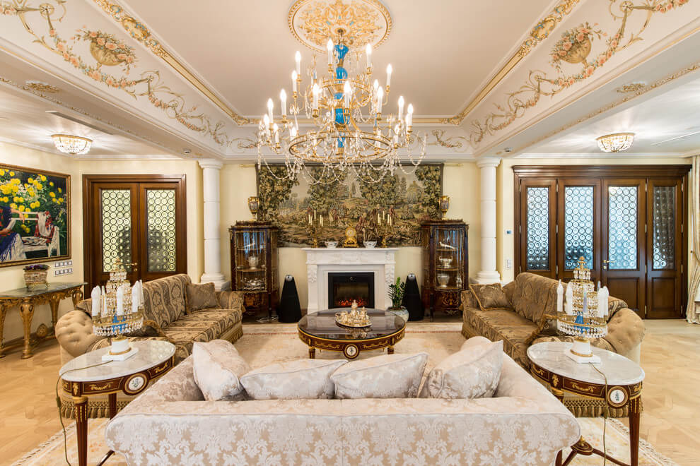 Grand White and Gold Living Room