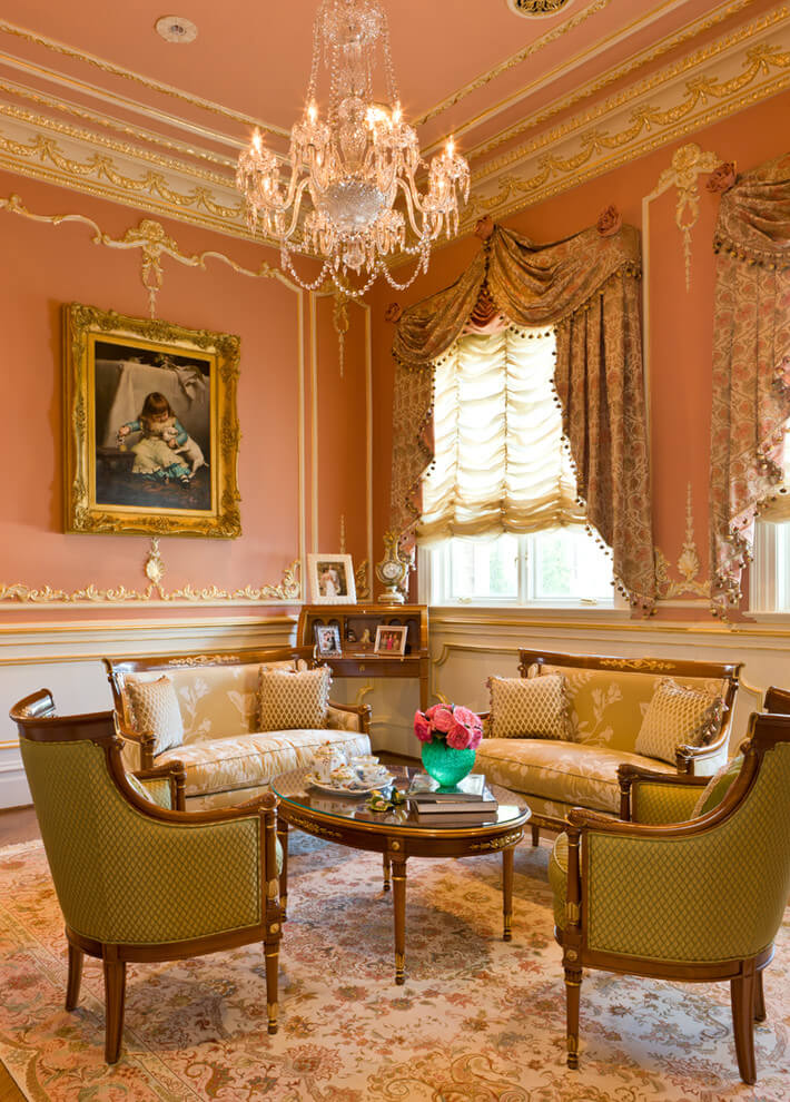 Plush pink Victorian living room