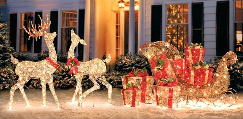 Reindeer and sled Christmas decoration outdoors