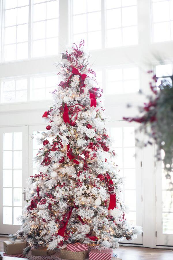 red and white frosted Christmas tree