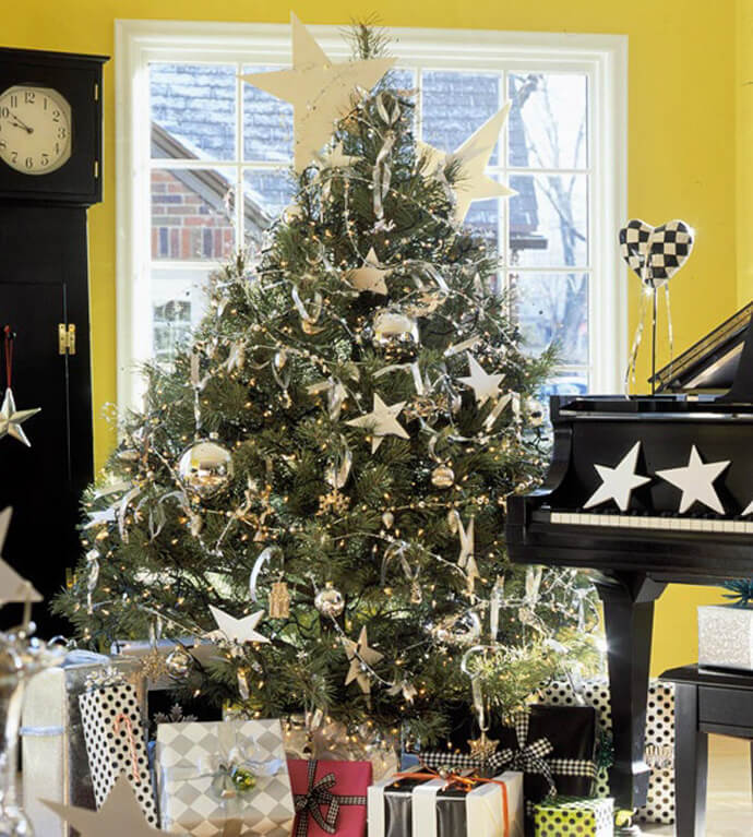 silver star garland tree decorations