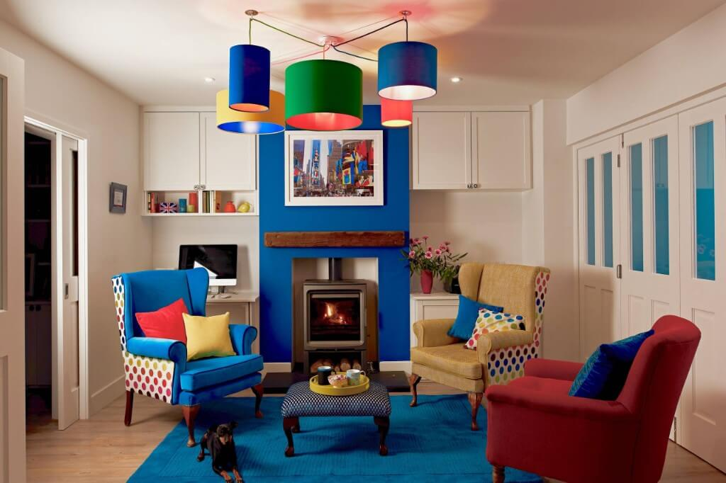 blue themed eclectic living room
