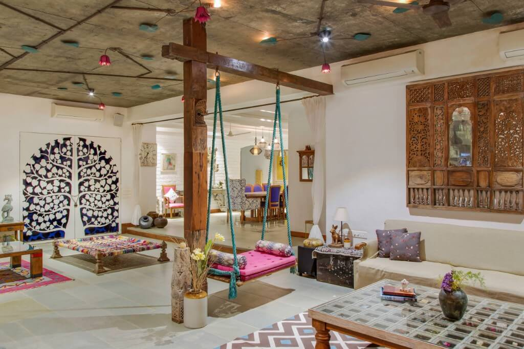 traditional indian eclectic living room