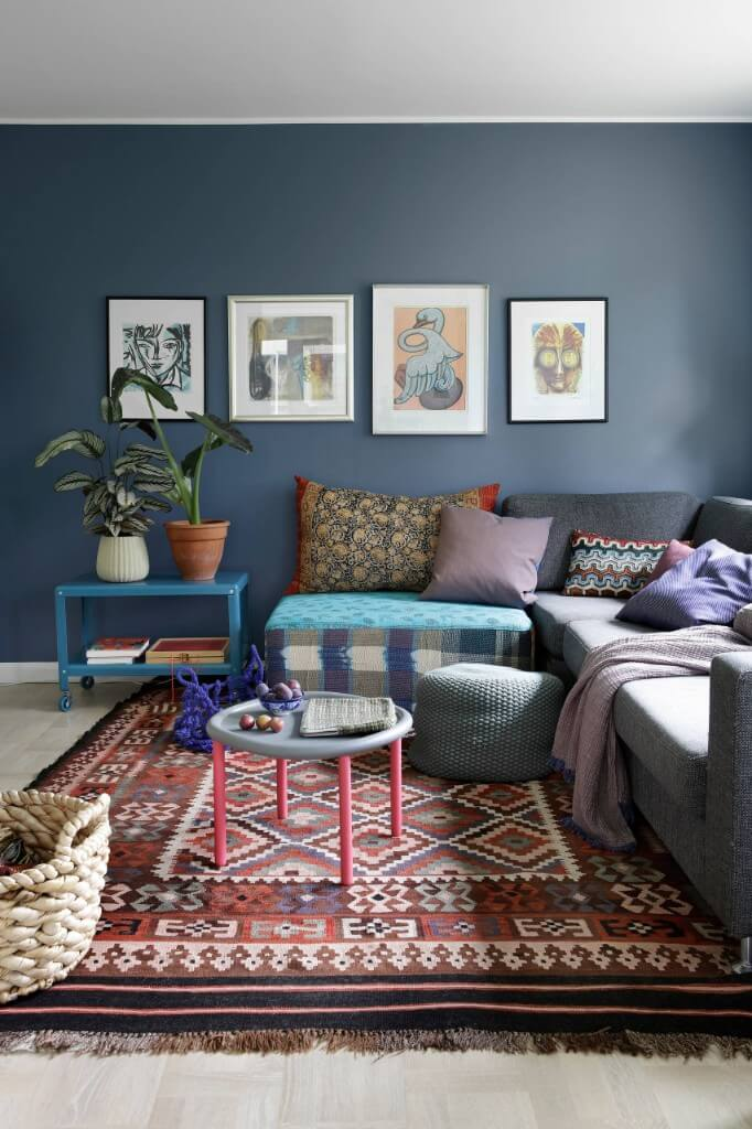 patterned carpet and gray sofa