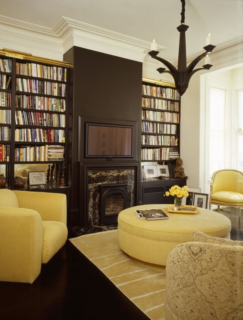 yellow and wood tones room