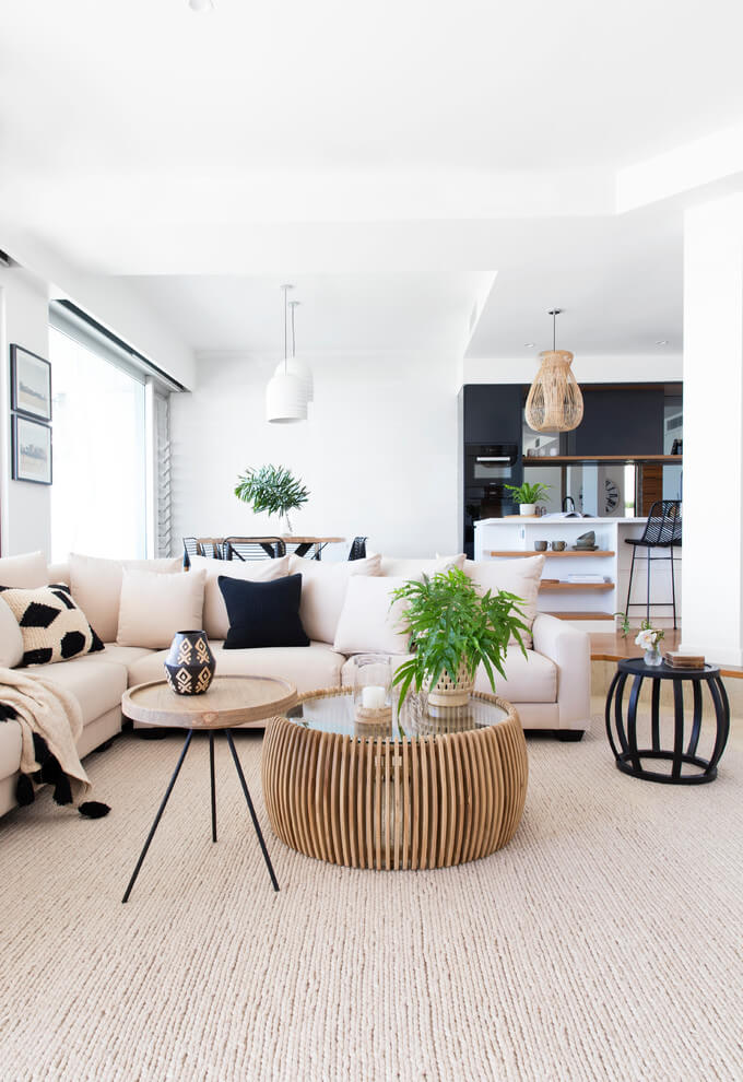 patterned coffee tables and pillows