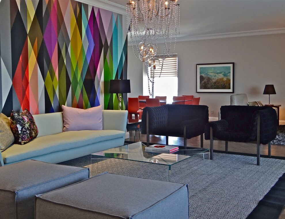 multicolored wall living room