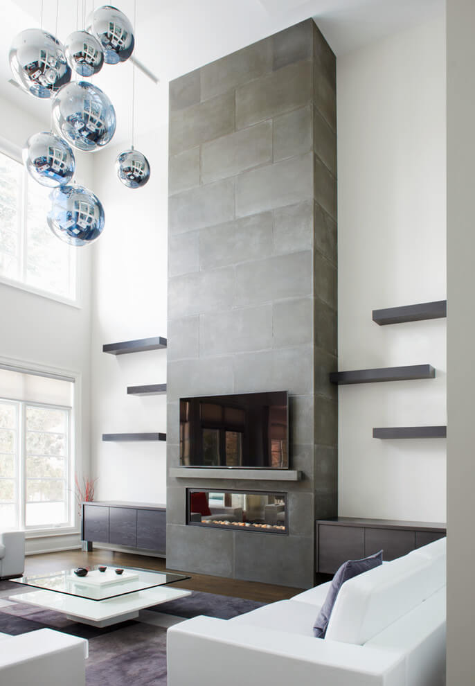 gray concrete stove surround