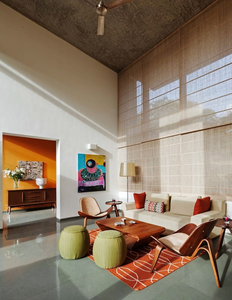 colorful high ceiling interior