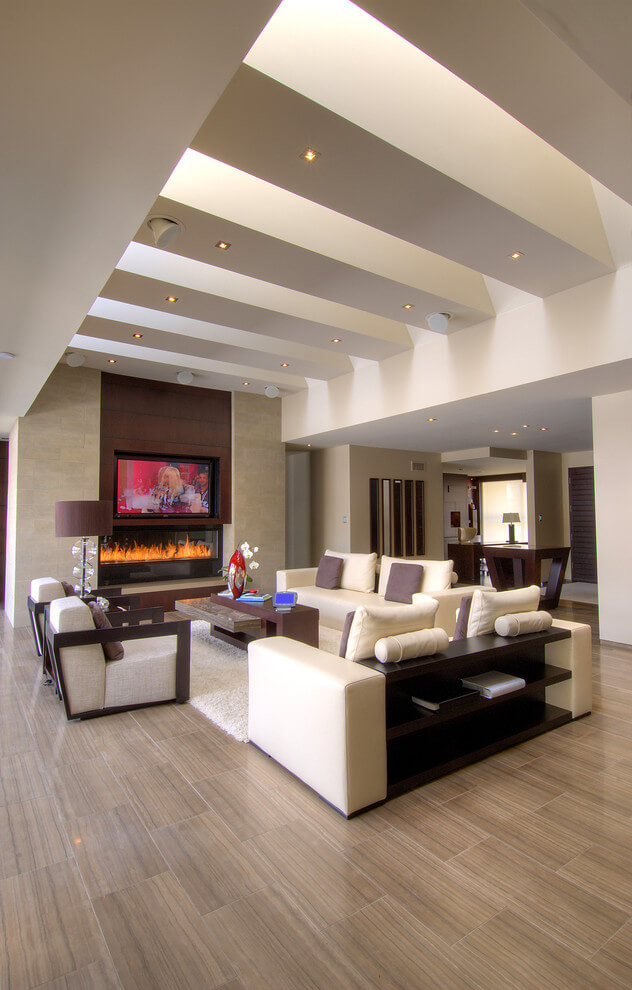 white and wooden modern living room