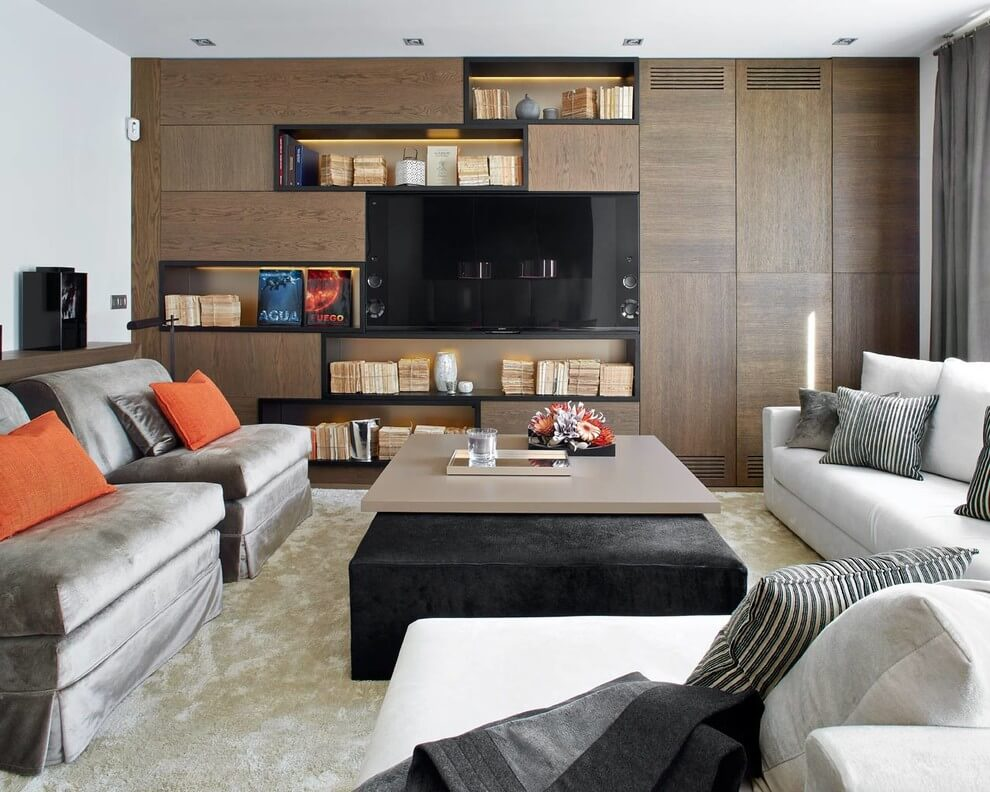 unique shelf wall living room