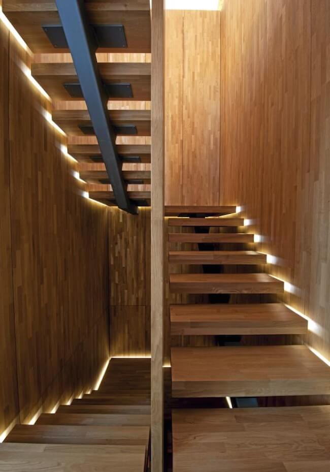 Lighting along winding stairs