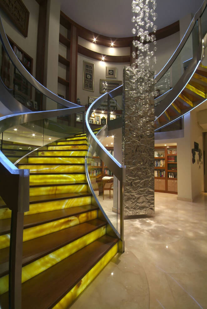 Wooden stairs Yellow riser lights