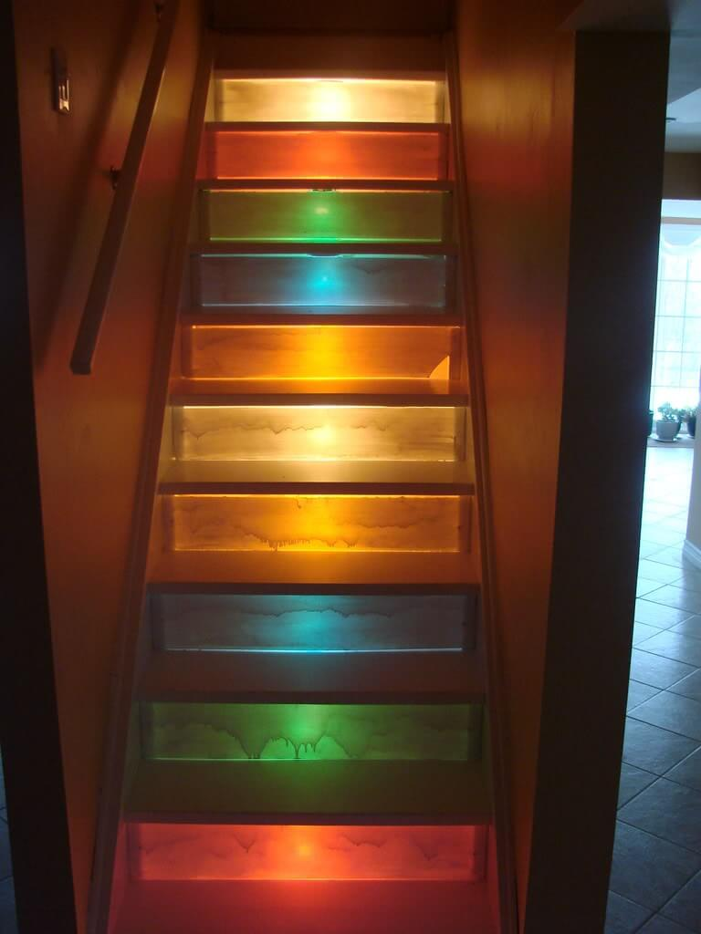 Colorful staircase lighting