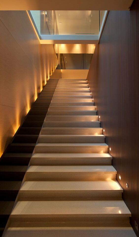 Two style recessed staircase wall lights