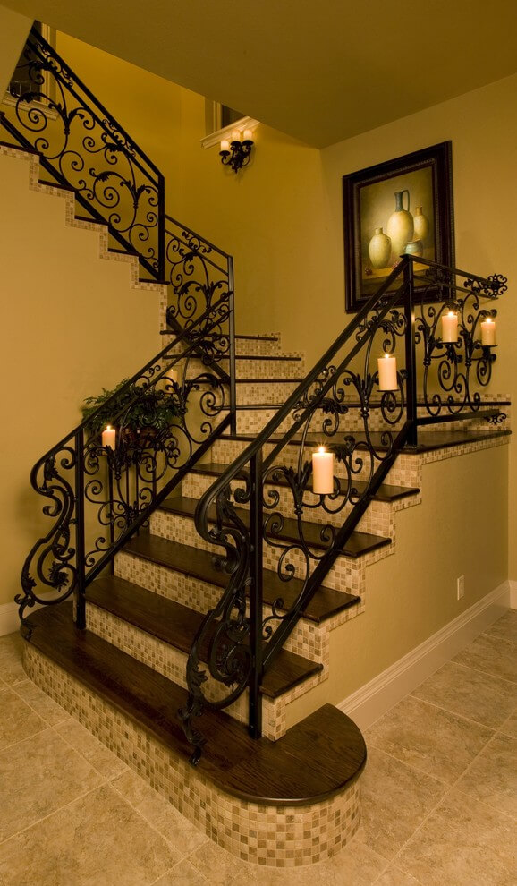 Traditional candles on staircase