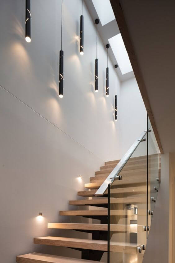Stairs ceiling hanging lamps
