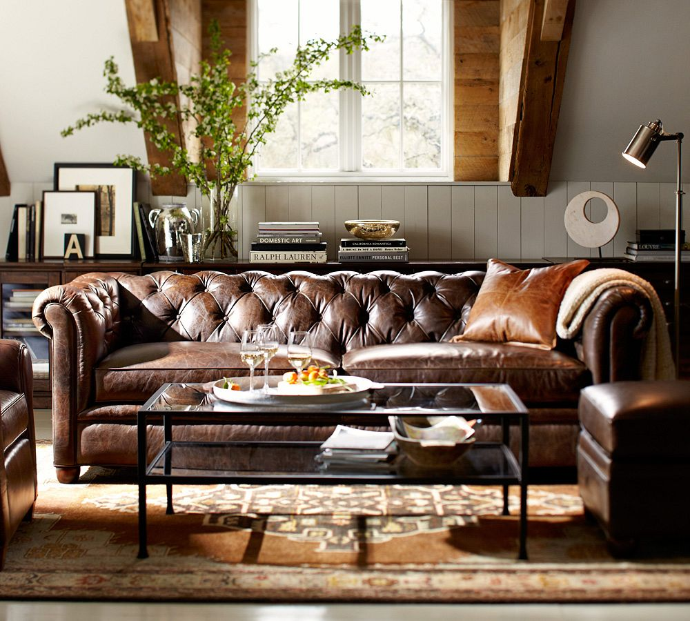 living room leather sofa Capitone Pattern Design