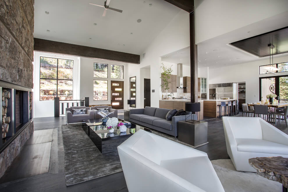 white and wood modern home design