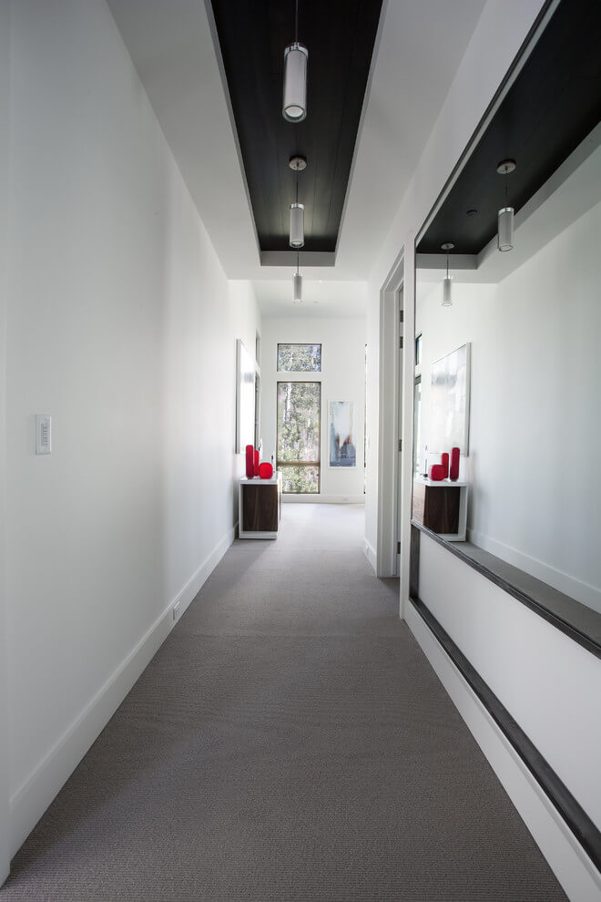 white and wooden hall design