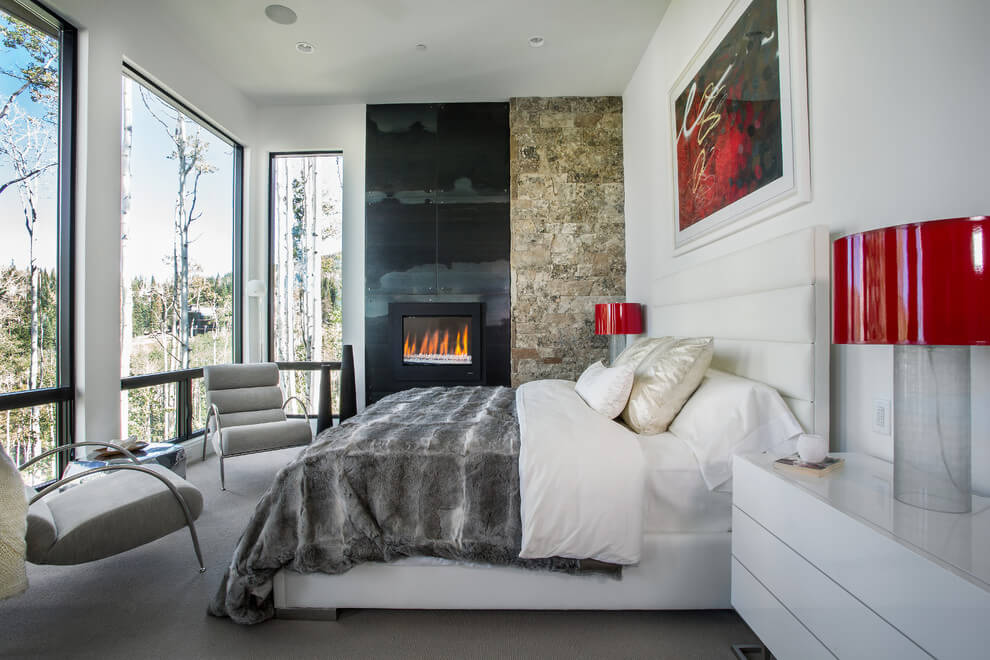 wall installed fireplace bedroom