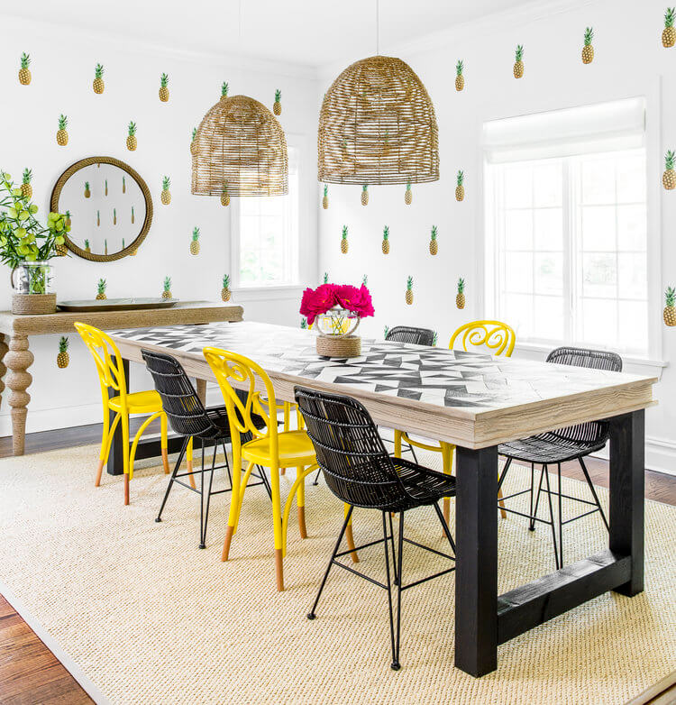 pineapple wall decor dining room