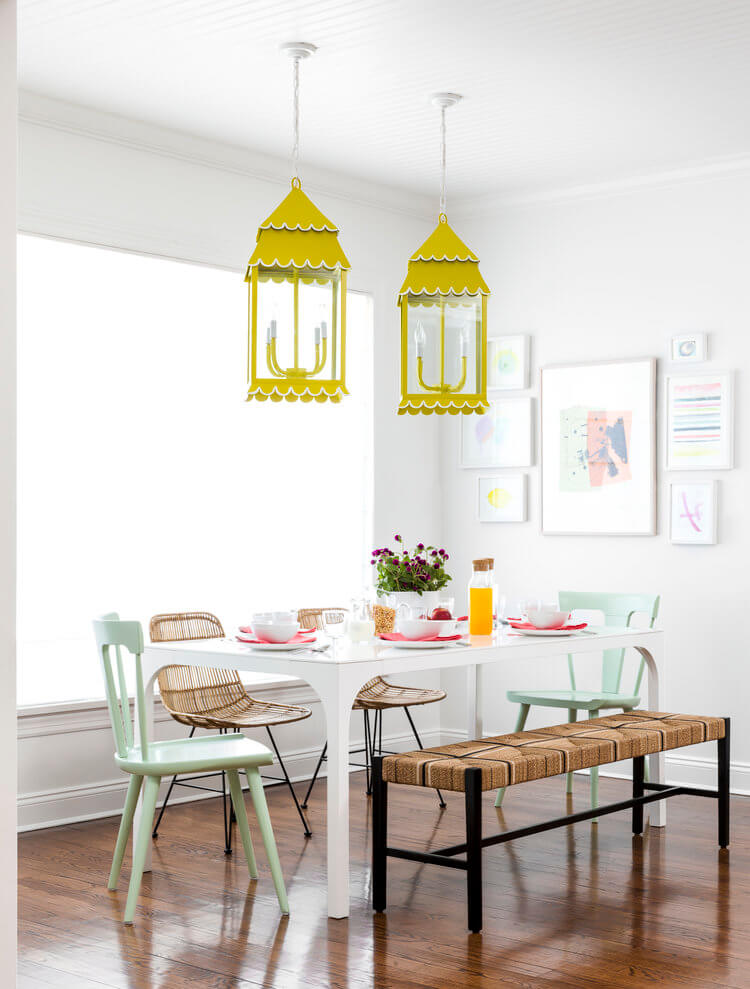 yellow lanterns breakfast nook