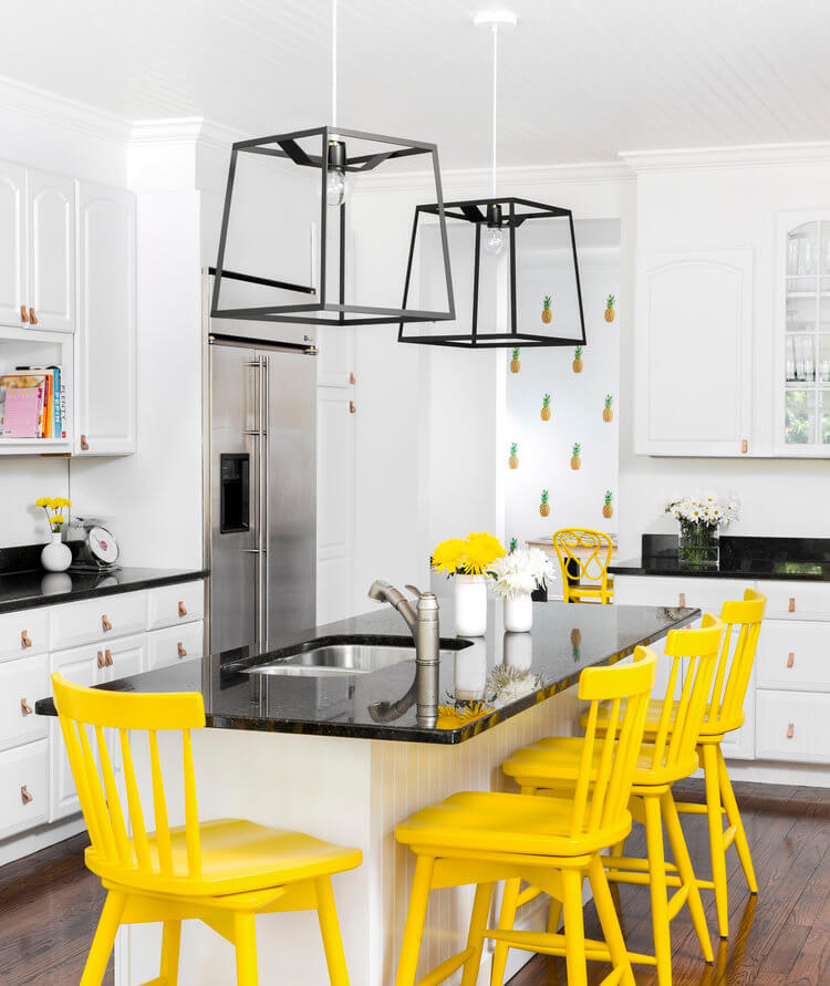 banana yellow kitchen chairs