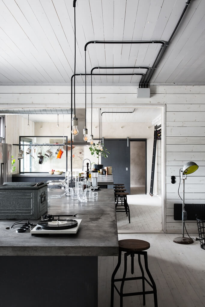 industrial style spacious kitchen