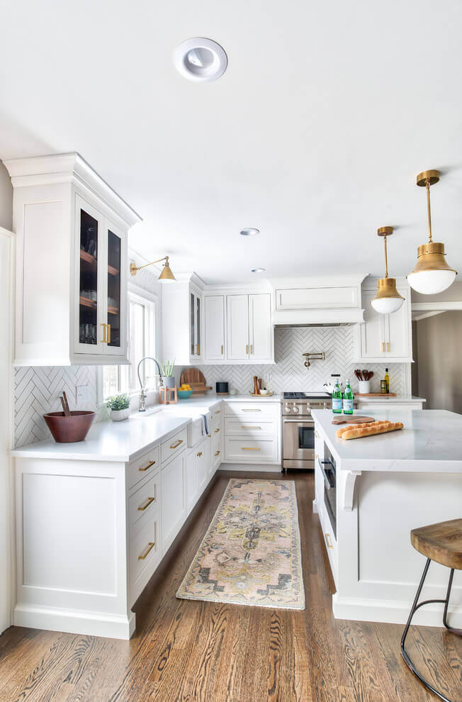 Classic white and wood themed transition kitchen